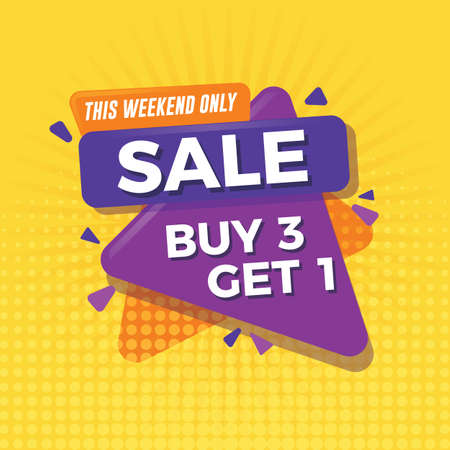 Sale banner with yellow background. Buy 3 get 1 Illustration