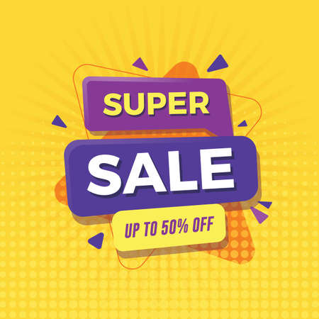Super sale banner with yellow background Illustration