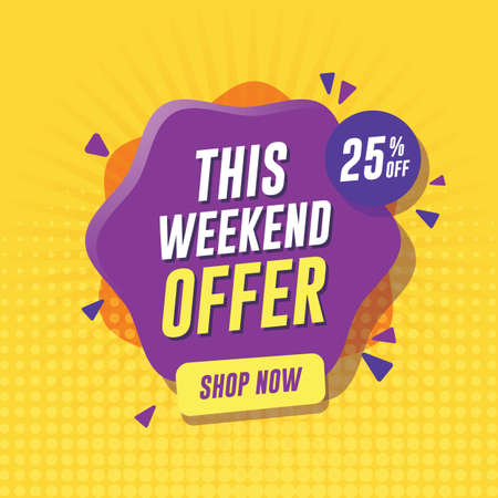 Weekend sale banner with yellow background