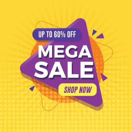 Mega sale banner with geometric shapes Ilustrace