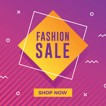 Fashion sale banner with modern memphis background