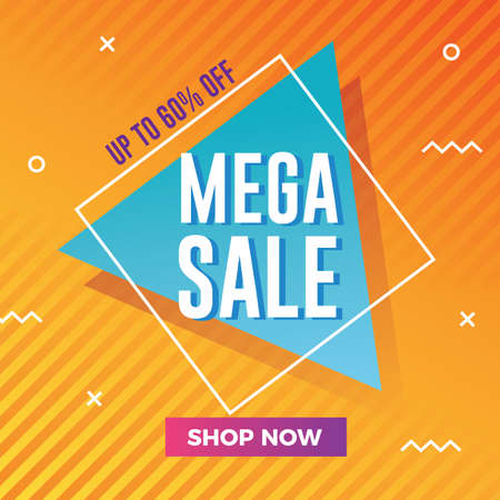 Mega sale banner with modern memphis background