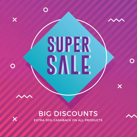 Super sale banner with modern memphis background Ilustrace