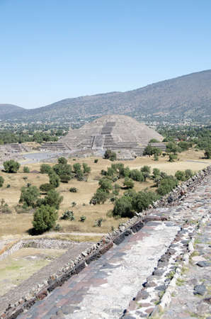 pre columbian: Pyramid of the Moon at Teotihuacan archaeological site in Mexico Stock Photo