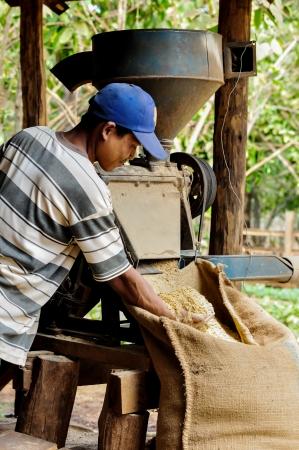 lao: Salavan, LAOS - 21 f�vrier; Non identifi�s producteur de caf� utilise une machine � caf� de d�corticage dans sa plantation de caf� au village vangyawn, f�vrier 21,2013, Lao Ngam, Salavan, R�publique D�mocratique Populaire Lao