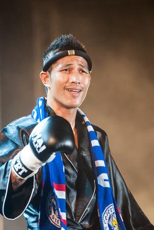 unrivalled: AYUTTHAYA,THAILAND -FEBRUARY 23 ; Sudsakorn Klinmi from Thailand at the match Thai fight   The World s Unrivalled Fight  on February 23, 2013 Ayutthaya,Thailand