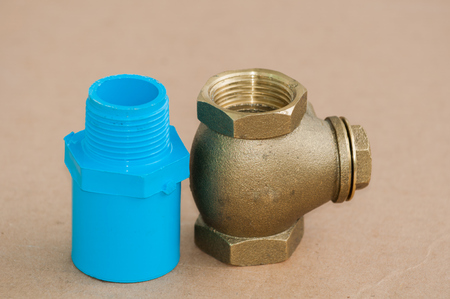 Bronze swing check valve and pvc pipe connection  photo