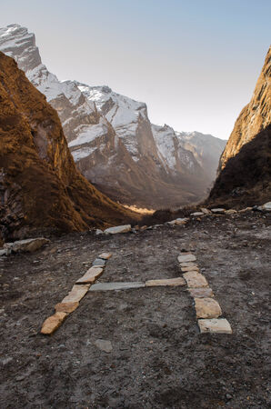 helicopter pad: Helicopter landing pad at ABC route,Nepal