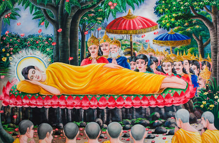 nirvana: UDONTHANI,THAILAND - JULY 7   Traditional Thai mural painting of Buddha  The final nirvana  on wall at Wat Pa Banmuang on July 7, 2014 in Udonthani , Thailand