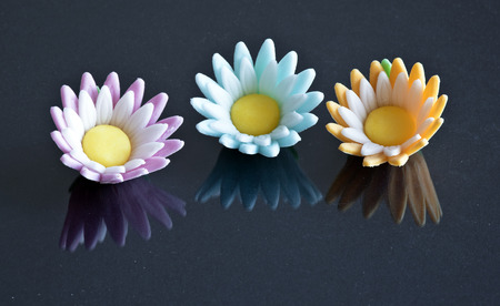 artefacts: colored sugar flowers