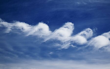 cirrus clouds: cirrus clouds in the blue sky, Seem brushstrokes of a painter. Stock Photo