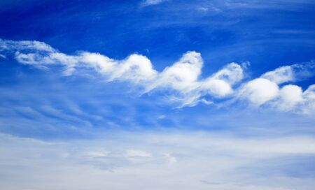 cirrus: cirrus clouds in the blue sky, Seem brushstrokes of a painter. Stock Photo