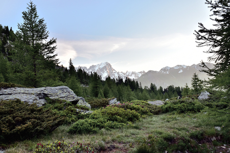 portage: alpine valley with the background of the high peaks.