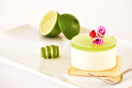 goodies: Bavarian coconut with lime green jelly, decorated with colorful flowers.