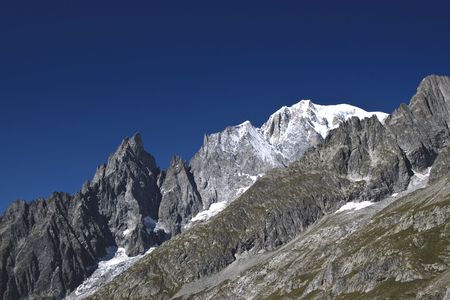 overview of the Mont Blanc, the Aiguille Blanche and Aiguille Noire. Stock Photo