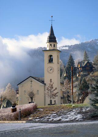 the church in the square of Chamois, in Valtournanche