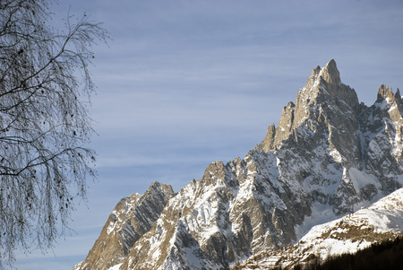 blanc: Aiguille Noire, the beautiful rock face at the side of the Mont Blanc Stock Photo