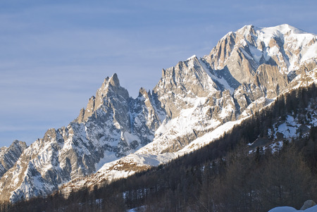 noire: landscape with Mont Blanc and the Aiguille noire at the first light of day Stock Photo