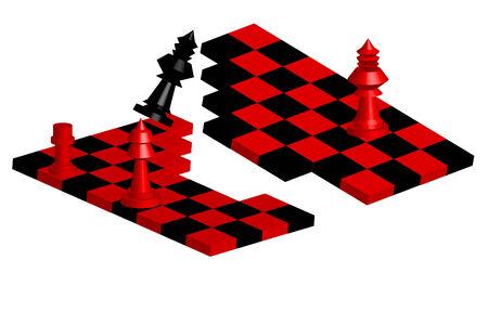 vector illustration for broken chessboard in white background Vector