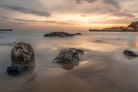 castro: Sunrise on the beach in Castro Urdiales