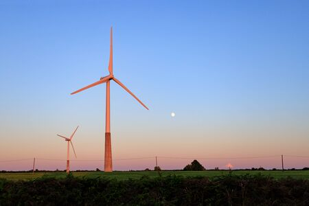 Windmills are painted with pink sunset rays on a green field under the moon.