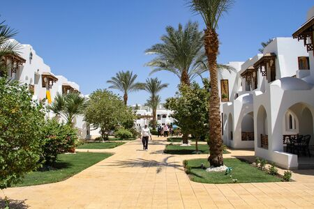 Sharm El Sheikh, Egypt, September 05, 2018. Hotel Royal Holiday Beach Resort Casino. Tropical luxury tourist resort near the Red Sea. Summer vacation concept
