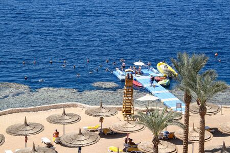 Sharm El Sheikh, Egypt, September 05, 2018. Hotel Intercontinental, sunny beach of a popular Egyptian hotel on the shores of the warm Red Sea