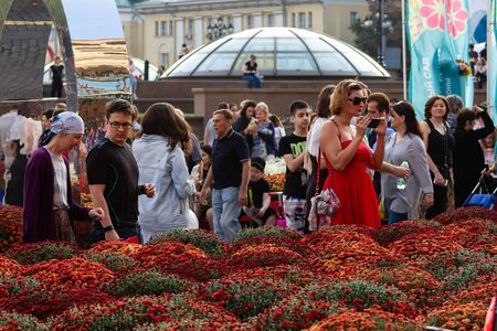 Moscow, Russia, 09.09.2019. Flower festival. Chrysanthemum is a flower of many values. Death in Spain, joy in the USA, wisdom in China and declaration of love in Mexico.