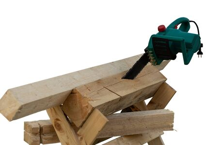 isolated image of circular saw on wooden boards, carpentry tool, free space for design Reklamní fotografie