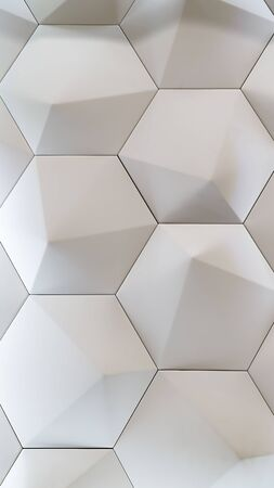 3D decorative wall for the interior of an unusual hexagonal geometric shape similar to honeycombs. White light background with a pattern imitating a tree. Abstract texture