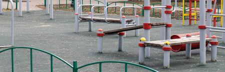 An empty modern Playground with climbing ladders on a bright Sunny spring day. An ideal place for children's outdoor activities.