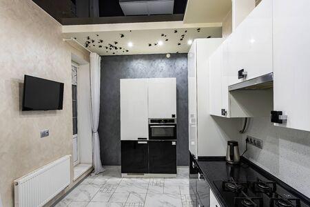 modern home cozy bright kitchen, stylish interior design