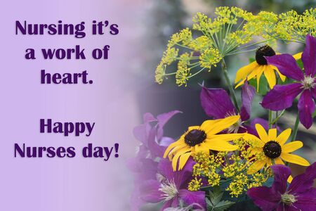 The text of the greeting on the medical holiday-the day of the nurse is written on the background of a beautiful bouquet of flowers. Healthcare and medical concept