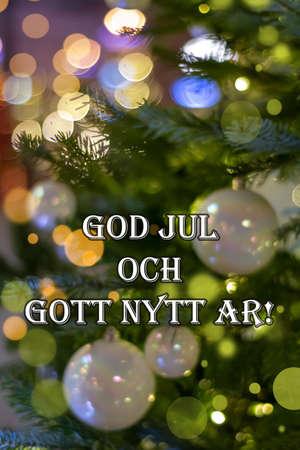 Christmas greetings in Swedish, Danish and Norwegian. God Jul och Gott Nytt Ar means Merry Christmas and Happy New Year 版權商用圖片