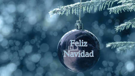 Holiday greetings in Spanish Means Merry Christmas on blurred balls with reflection decorate the branches of the Christmas tree. Winter holidays