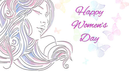 Congratulations On Women'S Day For Design And Decoration. Paper cutout girl face with pink spring paints and butterflies. Horizontal format design suitable for web banner or greeting card.