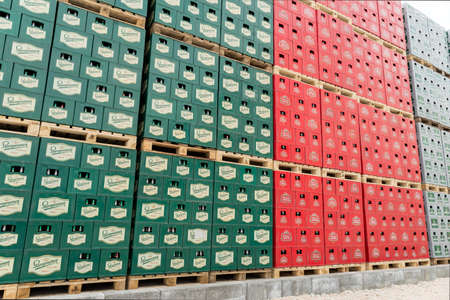 molson: Packs with bottles Staropramen and Stella Artois beer are seen in the Molson Coors Kamenitza brewery storage lot, April 28, 2015, near the city of Haskovo, Bulgaria. Kamenitza brewery has been founded in 1881, and Molson Coors Brewing Company bought it in Editorial