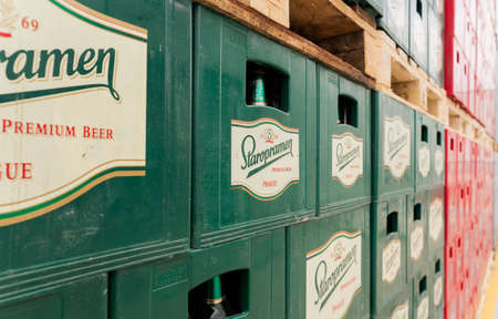 molson: Packs with bottles Staropramen beer are seen in the Molson Coors Kamenitza brewery storage lot, April 28, 2015, near the city of Haskovo, Bulgaria. Kamenitza brewery has been founded in 1881, and Molson Coors Brewing Company bought it in 2012.