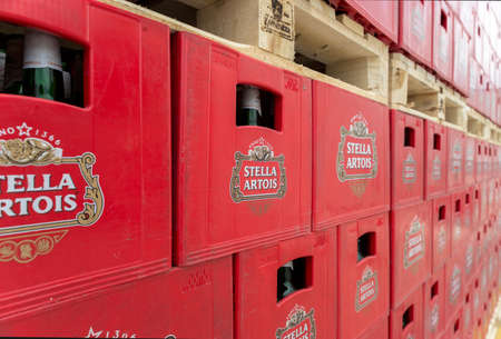 haskovo: Packs with bottles Stella Artois beer are seen in the Molson Coors Kamenitza brewery storage lot, April 28, 2015, near the city of Haskovo, Bulgaria. Kamenitza brewery has been founded in 1881, and Molson Coors Brewing Company bought it in 2012. Editorial