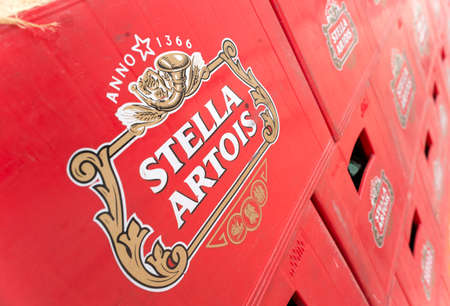 Packs with bottles Stella Artois beer are seen in the Molson Coors Kamenitza brewery storage lot, April 28, 2015, near the city of Haskovo, Bulgaria. Kamenitza brewery has been founded in 1881, and Molson Coors Brewing Company bought it in 2012. Editorial