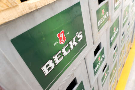 molson: Packs with bottles Becks beer are seen in the Molson Coors Kamenitza brewery storage lot, April 28, 2015, near the city of Haskovo, Bulgaria. Kamenitza brewery has been founded in 1881, and Molson Coors Brewing Company bought it in 2012. Editorial
