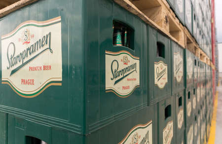 haskovo: Packs with bottles Staropramen beer are seen in the Molson Coors Kamenitza brewery storage lot, April 28, 2015, near the city of Haskovo, Bulgaria. Kamenitza brewery has been founded in 1881, and Molson Coors Brewing Company bought it in 2012.