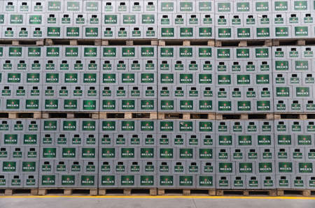 haskovo: Packs with bottles Becks beer are seen in the Molson Coors Kamenitza brewery storage lot, April 28, 2015, near the city of Haskovo, Bulgaria. Kamenitza brewery has been founded in 1881, and Molson Coors Brewing Company bought it in 2012. Editorial