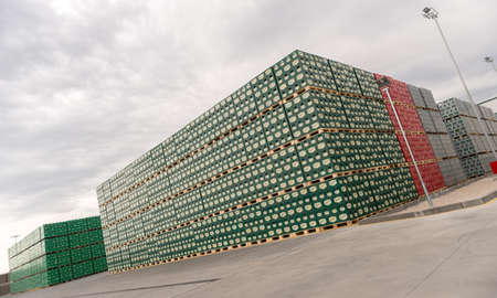 Packs with bottles Staropramen beer are seen in the Molson Coors Kamenitza brewery storage lot, April 28, 2015, near the city of Haskovo, Bulgaria. Kamenitza brewery has been founded in 1881, and Molson Coors Brewing Company bought it in 2012.