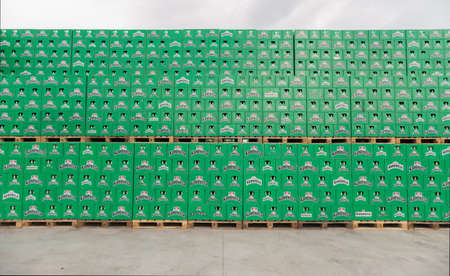 haskovo: Packs with bottles Kamenitza beer are seen in the Molson Coors Kamenitza brewery storage lot, April 28, 2015, near the city of Haskovo, Bulgaria. Kamenitza brewery has been founded in 1881, and Molson Coors Brewing Company bought it in 2012.