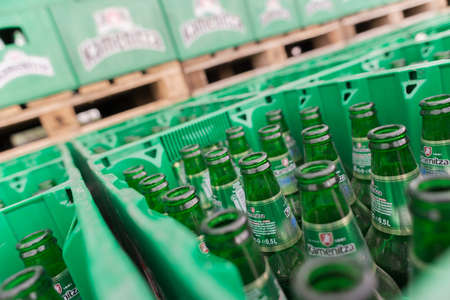 haskovo: Empty bottles Kamenitza beer are seen in the Molson Coors Kamenitza brewery storage lot, April 28, 2015, near the city of Haskovo, Bulgaria. Kamenitza brewery has been founded in 1881, and Molson Coors Brewing Company bought it in 2012.