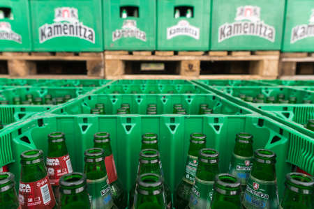 Empty bottles Kamenitza beer are seen in the Molson Coors Kamenitza brewery storage lot, April 28, 2015, near the city of Haskovo, Bulgaria. Kamenitza brewery has been founded in 1881, and Molson Coors Brewing Company bought it in 2012.