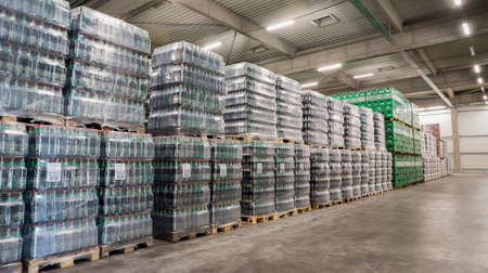 molson: Packs Kamenitza beer bottles are seen in the Molson Coors Kamenitza brewery warehouse, April 28, 2015, near the city of Haskovo, Bulgaria. Kamenitza brewery has been founded in 1881, and Molson Coors Brewing Company bought it in 2012. Editorial