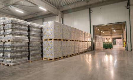 haskovo: Packs Staropramen and Hoegaarden beer bottles are seen in the Molson Coors Kamenitza brewery warehouse, April 28, 2015, near the city of Haskovo, Bulgaria. Kamenitza brewery has been founded in 1881, and Molson Coors Brewing Company bought it in 2012. Editorial