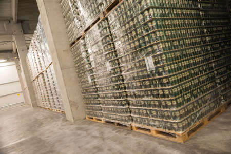 molson: Packs Staropramen canned beer are seen in the Molson Coors Kamenitza brewery warehouse, April 28, 2015, near the city of Haskovo, Bulgaria. Kamenitza brewery has been founded in 1881, and Molson Coors Brewing Company bought it in 2012. Editorial